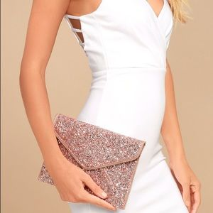 Rock candy rose gold sequins clutch